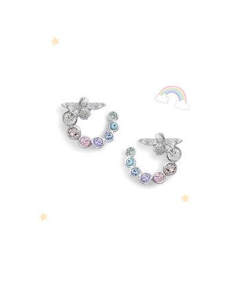 OLIVIA BURTON LONDON Rainbow Bee Swirl Hoop Earrings SilverOBJAME133 – Earrings in Silver - Front view