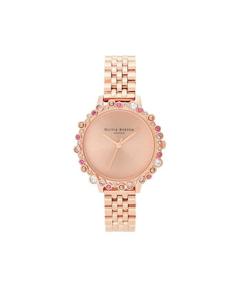 OLIVIA BURTON LONDON Limited Edition Bejewelled Case Watch, Rose Gold BraceletOB16US32 – Bejewelled Case Watch - Front view