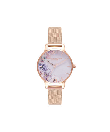OLIVIA BURTON LONDON Watercolour Florals Rose Gold Mesh WatchOB16PP39 – Midi Dial Round in White and Rose Gold - Front view