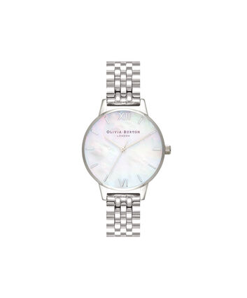 OLIVIA BURTON LONDON  Mother of Pearl White Bracelet, Silver OB16MOP02 – Midi Dial Round in Silver and Silver - Front view
